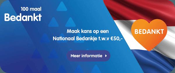Geef hen de VVV Cadeaukaart als speciaal 'Nationaal Bedankje', compleet met omslag, gratis cadeaumapje en gratis verzending.