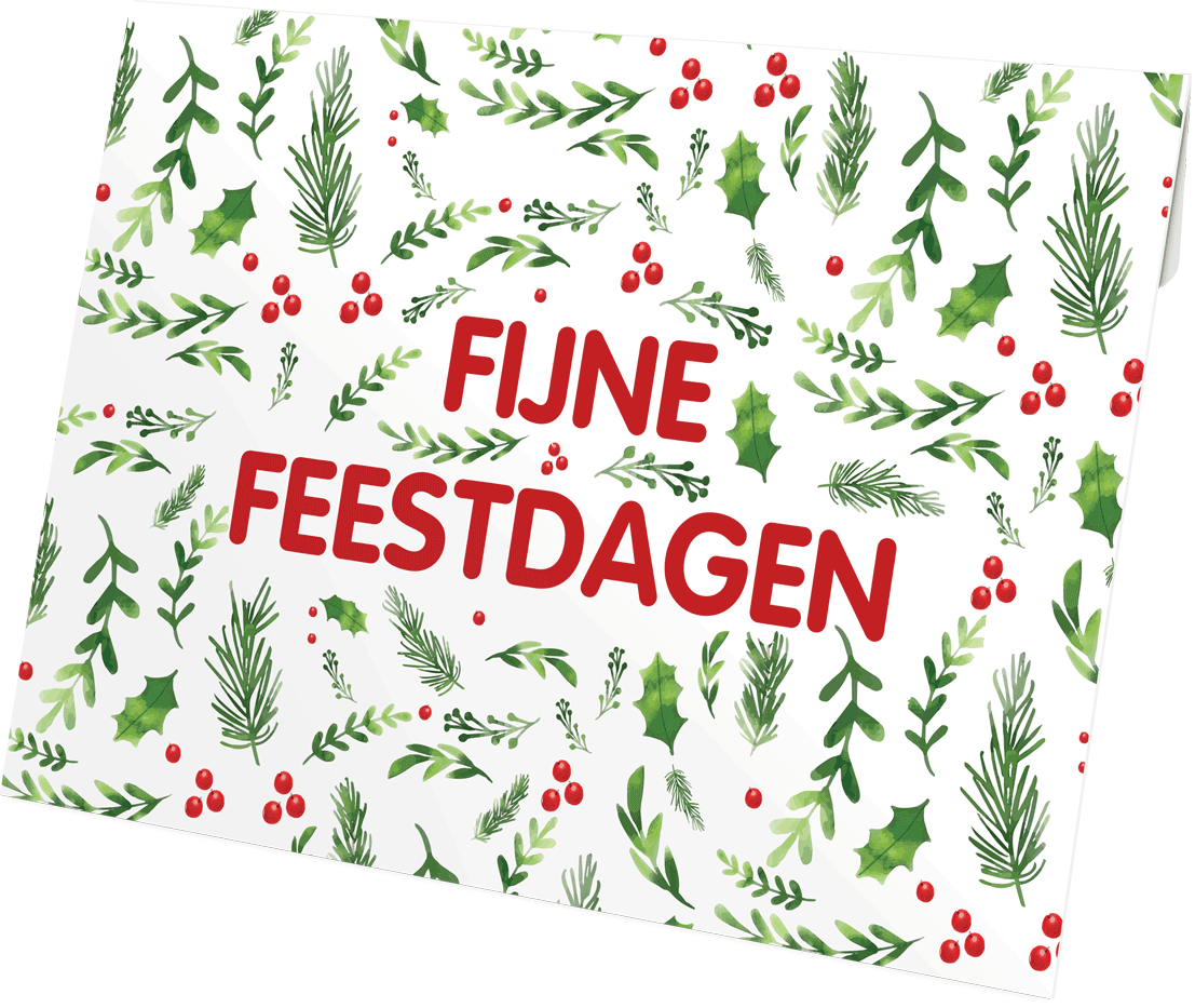 Fijne feestdagen hulst envelop