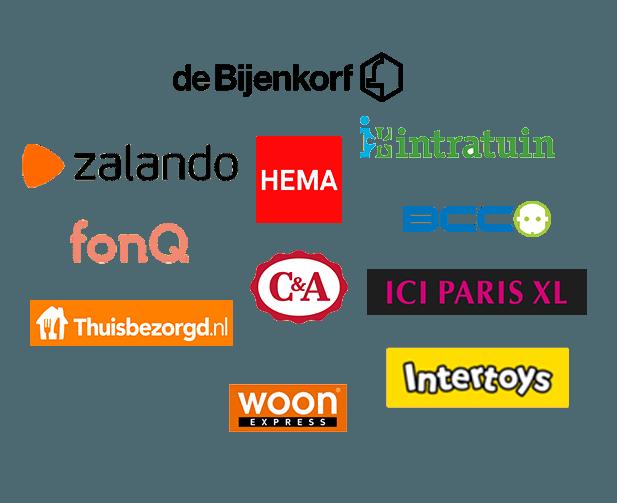 de Bijenkorf, Intertoys, fonQ, Thuisbezorgd.nl, Woon expres, ICI Paris XL, BCC, Intratuin, Hema, C&A