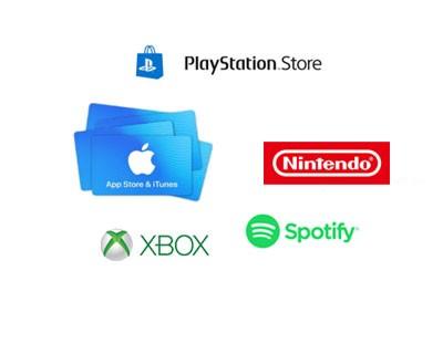 Playstation, xbox, nintendo, sportify, itunes