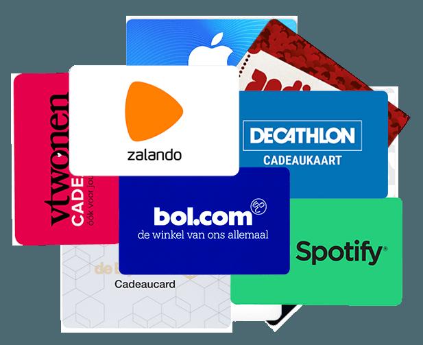 Het assortiment van cadeaucodes bestaat o.a. uit Bol.com, Zalando, Spotify, de Bijenkorf, Playstation Store, App Store & iTunes, Nintendo eShop en nog veel meer...