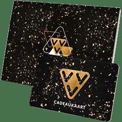 Geef de VVV Cadeaukaart als VVV Kerst Cadeaukaart goud met glitters