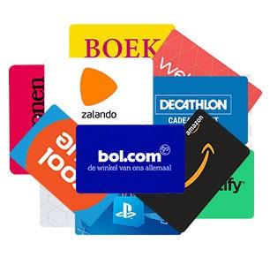 Het assortiment van cadeaucodes bestaat o.a. uit Bol.com, Zalando, Spotify, de Bijenkorf, Playstation Store, Coolblue, Nintendo eShop en nog veel meer...