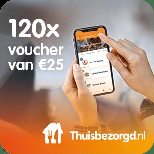 Thuisbezorgd.nl stelt 120 keer een voucher van € 25,- ter beschikking voor het Prijzenfestival