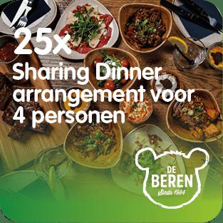 De Beren stelt 25 keer een sharing dinner arrangement voor 4 personen ter beschikking voor het Prijzenfestival