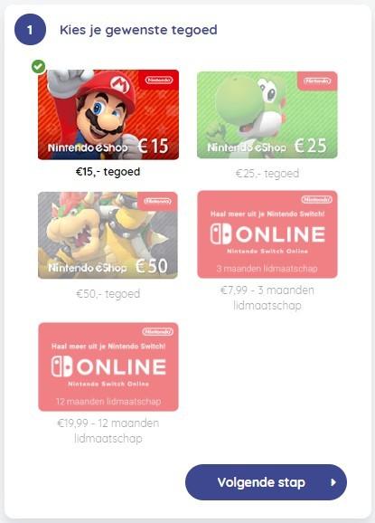 Maak een keuze uit je gewenste Nintendo eShopt tegoed