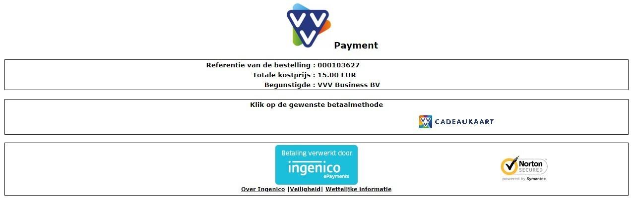 Klik op de gewenste betaalmethode wat in dit geval de VVV Cadeaukaart is